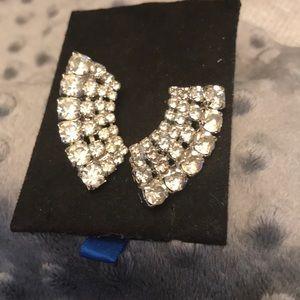 Moonshape Rhinestone Cluster Clip On Earrings